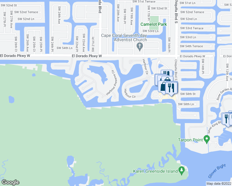 map of restaurants, bars, coffee shops, grocery stores, and more near 5717 Compass Court in Cape Coral