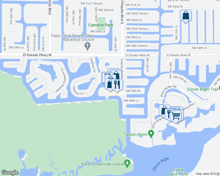 map of restaurants, bars, coffee shops, grocery stores, and more near 5781 Cape Harbour Drive in Cape Coral