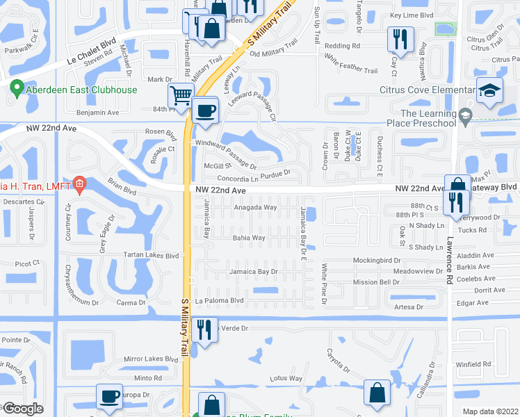 map of restaurants, bars, coffee shops, grocery stores, and more near 52014 Florinada Bay in Boynton Beach