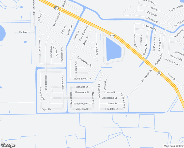 map of restaurants, bars, coffee shops, grocery stores, and more near 873 Rue Labeau Circle in Fort Myers