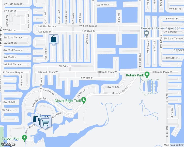 map of restaurants, bars, coffee shops, grocery stores, and more near 806 El Dorado Parkway West in Cape Coral