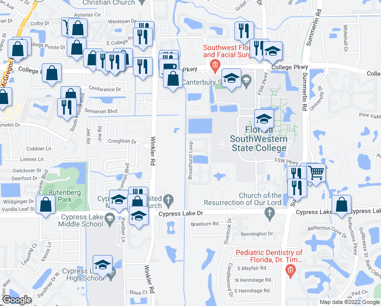 map of restaurants, bars, coffee shops, grocery stores, and more near 13251 Broadhurst Loop in Fort Myers