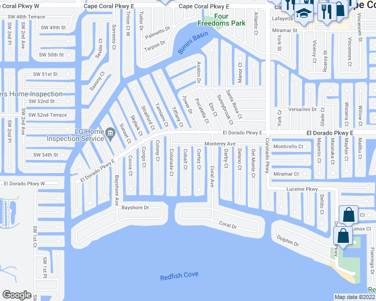 map of restaurants, bars, coffee shops, grocery stores, and more near 5307 Cobalt Court in Cape Coral