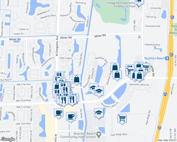 map of restaurants, bars, coffee shops, grocery stores, and more near 2845 South Evergreen Circle in Boynton Beach