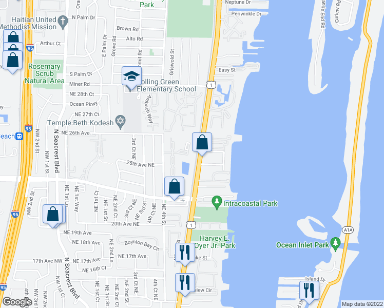 map of restaurants, bars, coffee shops, grocery stores, and more near 26 Crossings Circle in Boynton Beach