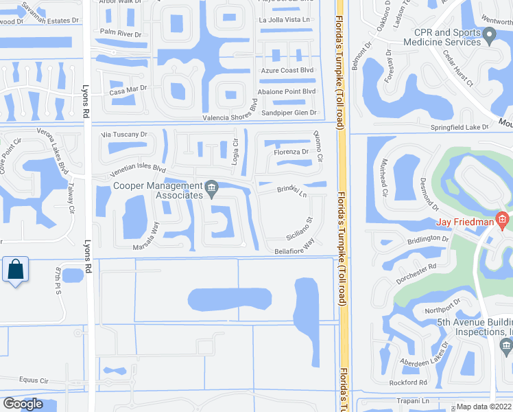 map of restaurants, bars, coffee shops, grocery stores, and more near 8226 Bellafiore Way in Boynton Beach