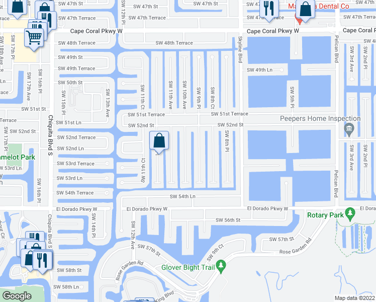 map of restaurants, bars, coffee shops, grocery stores, and more near 5233 Southwest 10th Avenue in Cape Coral