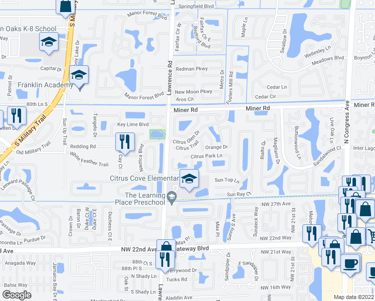 map of restaurants, bars, coffee shops, grocery stores, and more near 212 Citrus Trail in Boynton Beach