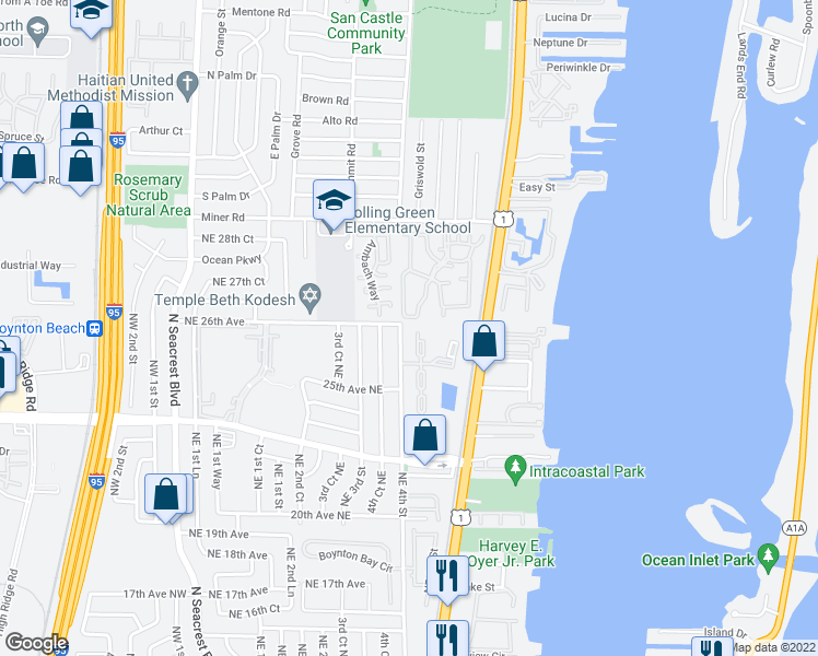 map of restaurants, bars, coffee shops, grocery stores, and more near 32 Crossings Circle in Boynton Beach