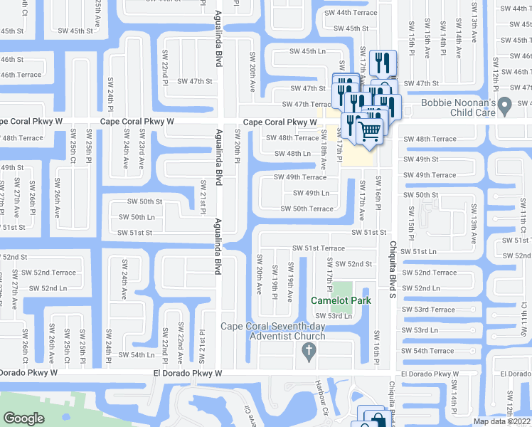 map of restaurants, bars, coffee shops, grocery stores, and more near 1926 Southwest 50th Terrace in Cape Coral