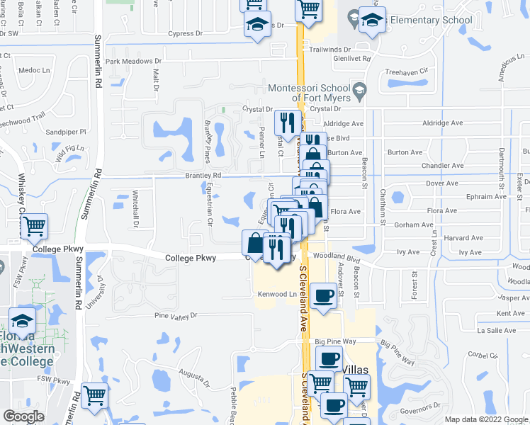 map of restaurants, bars, coffee shops, grocery stores, and more near Equestrian Circle in Fort Myers