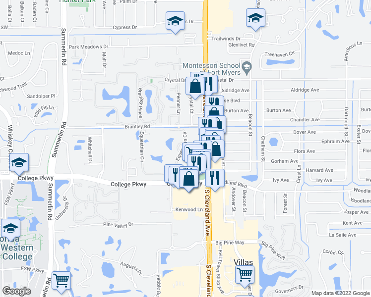 map of restaurants, bars, coffee shops, grocery stores, and more near 12670 Equestrian Circle in Fort Myers