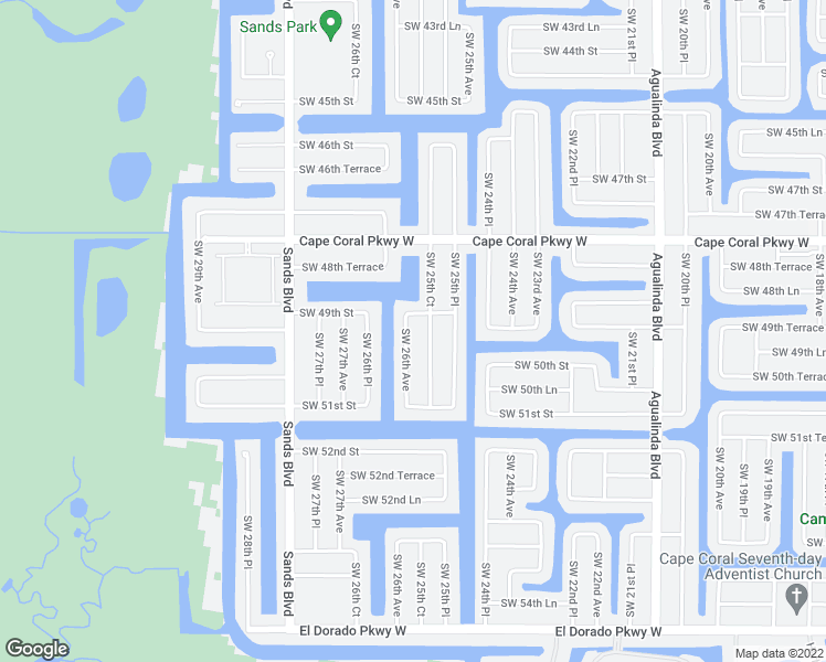 map of restaurants, bars, coffee shops, grocery stores, and more near 4909 Southwest 26th Avenue in Cape Coral