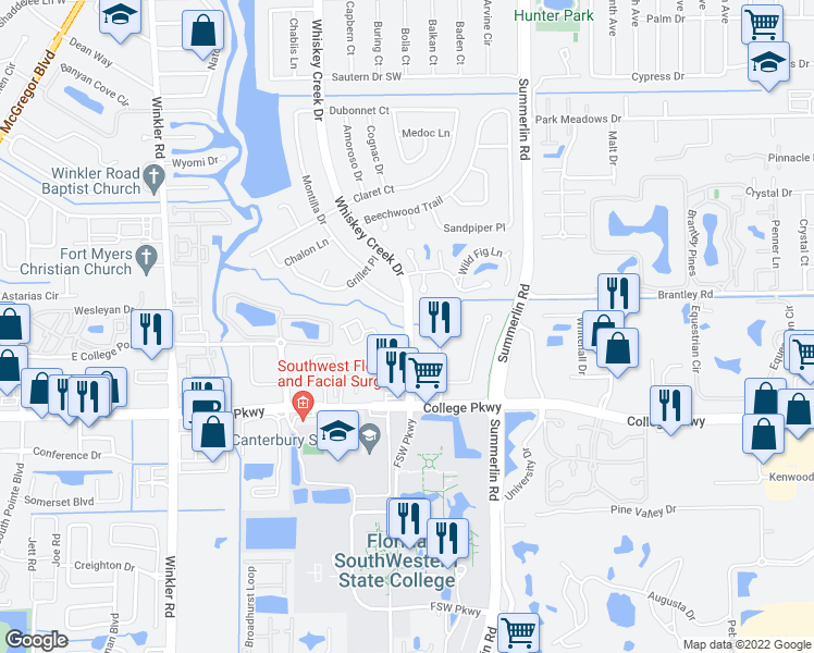 map of restaurants, bars, coffee shops, grocery stores, and more near 6146 Whiskey Creek Drive in Fort Myers