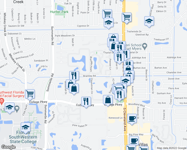 map of restaurants, bars, coffee shops, grocery stores, and more near 1801 Brantley Road in Fort Myers