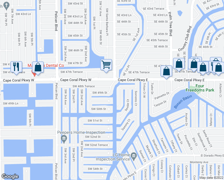 map of restaurants, bars, coffee shops, grocery stores, and more near 4821 Southwest Santa Barbara Court in Cape Coral