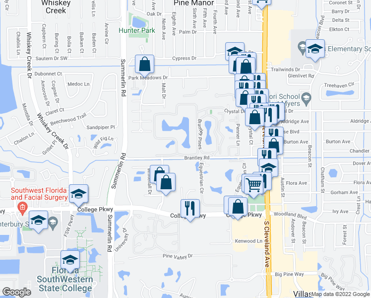 map of restaurants, bars, coffee shops, grocery stores, and more near 1735 Brantley Road in Fort Myers
