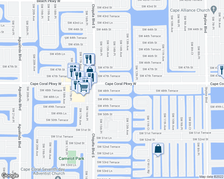 map of restaurants, bars, coffee shops, grocery stores, and more near 1505 Southwest 48th Terrace in Cape Coral