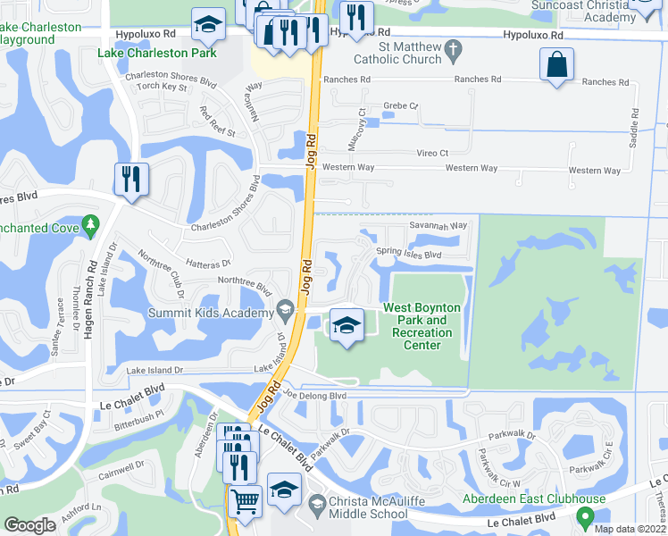 map of restaurants, bars, coffee shops, grocery stores, and more near 7848 Sonoma Springs Circle in Lake Worth