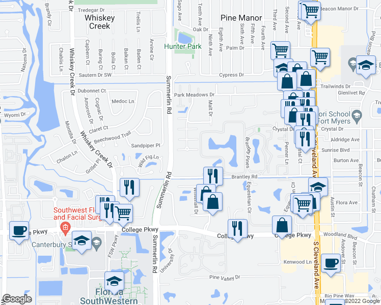 map of restaurants, bars, coffee shops, grocery stores, and more near 12365 Woodrose Court in Fort Myers