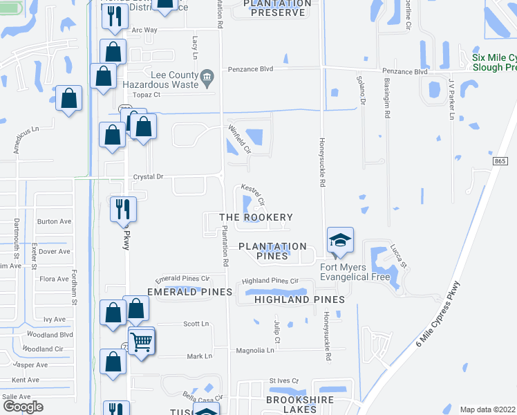 map of restaurants, bars, coffee shops, grocery stores, and more near Kestrel Circle in Fort Myers