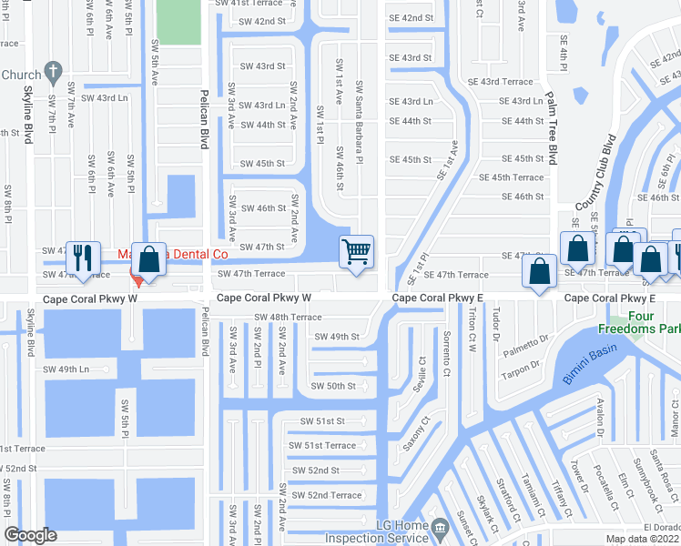 map of restaurants, bars, coffee shops, grocery stores, and more near 131 Southwest 47th Terrace in Cape Coral