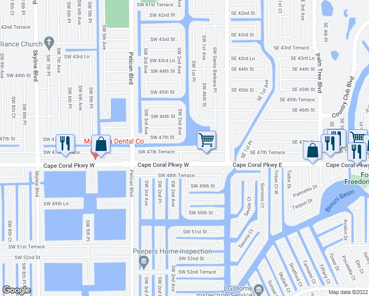 map of restaurants, bars, coffee shops, grocery stores, and more near 159 Southwest 47th Terrace in Cape Coral