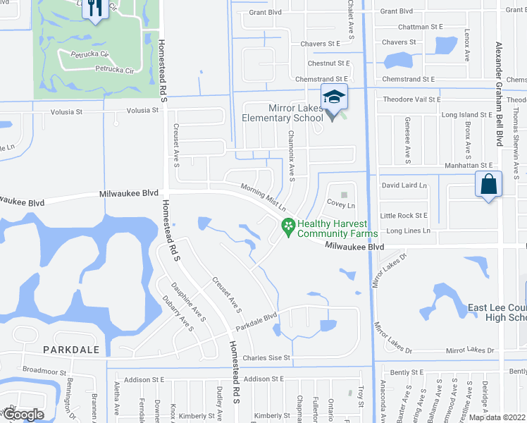 map of restaurants, bars, coffee shops, grocery stores, and more near 598 Aston Lake Court in Lehigh Acres