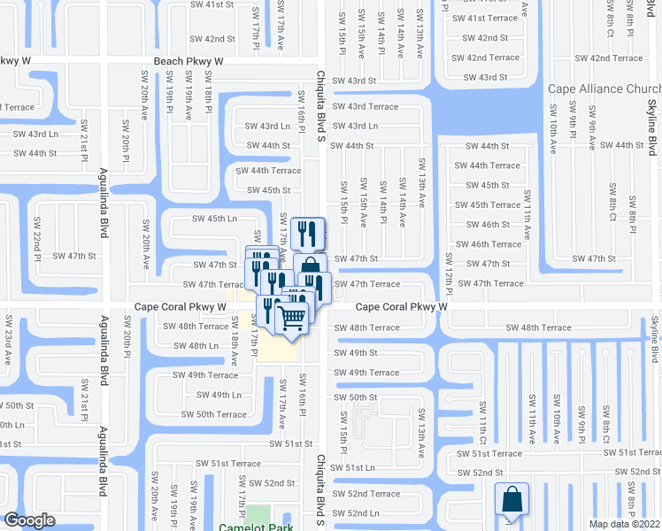 map of restaurants, bars, coffee shops, grocery stores, and more near 1526 Southwest 47th Street in Cape Coral