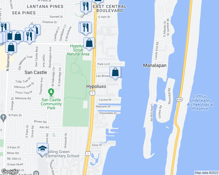 map of restaurants, bars, coffee shops, grocery stores, and more near 145 Yacht Club Way in Hypoluxo