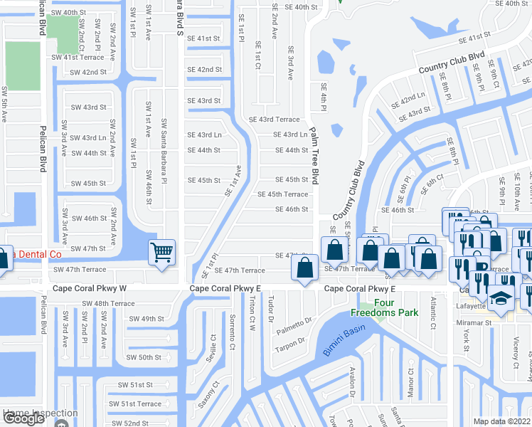 map of restaurants, bars, coffee shops, grocery stores, and more near 224 Southeast 46th Street in Cape Coral