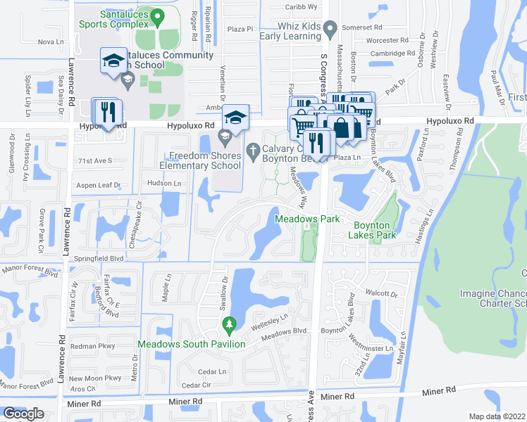 map of restaurants, bars, coffee shops, grocery stores, and more near 60 Heather Cove Drive in Boynton Beach