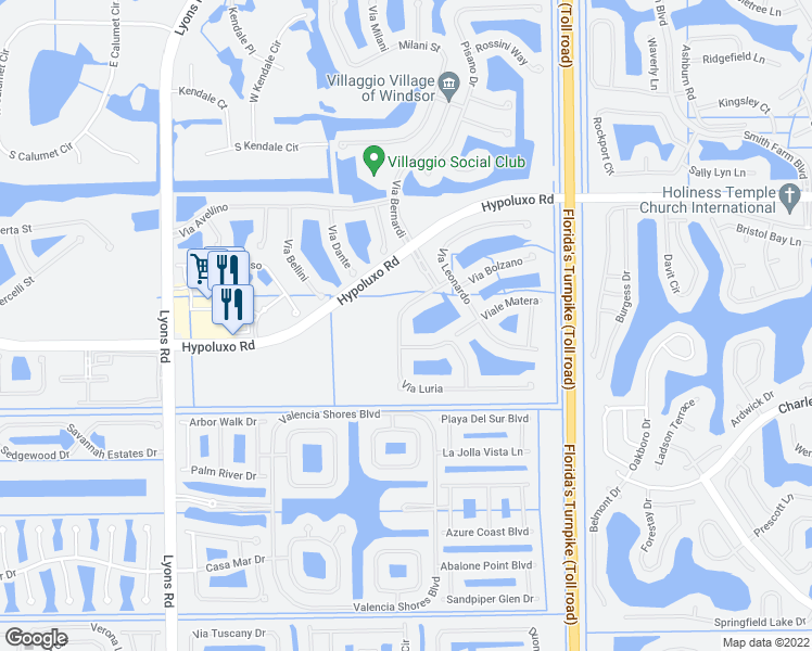map of restaurants, bars, coffee shops, grocery stores, and more near 7282 Via Luria in Lake Worth