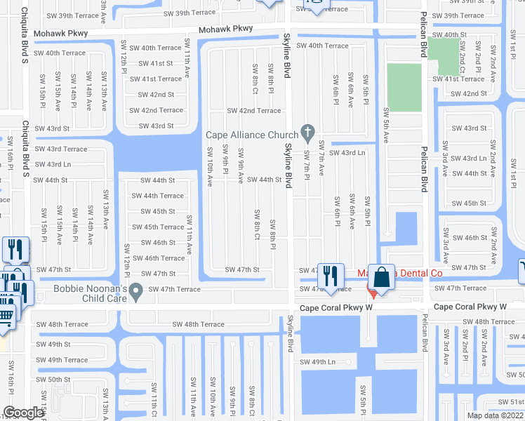 map of restaurants, bars, coffee shops, grocery stores, and more near 4513 Southwest 8th Court in Cape Coral
