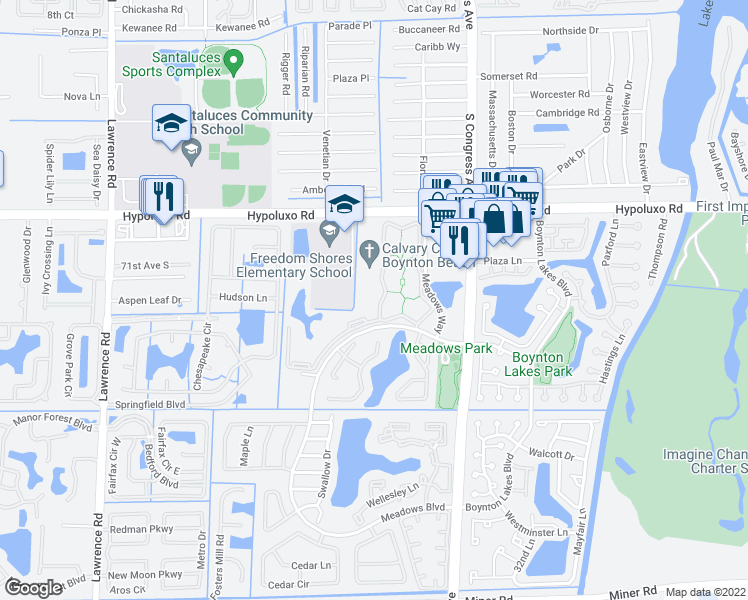 map of restaurants, bars, coffee shops, grocery stores, and more near 1425 Meadows Circle West in Boynton Beach