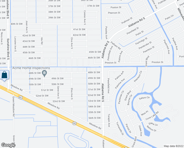 map of restaurants, bars, coffee shops, grocery stores, and more near 2513 48th Street Southwest in Lehigh Acres