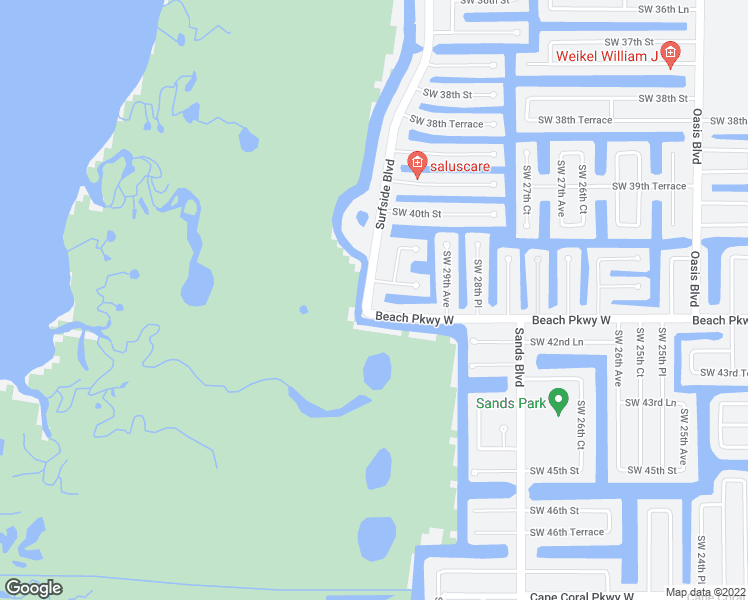 map of restaurants, bars, coffee shops, grocery stores, and more near 4127 Surfside Boulevard in Cape Coral