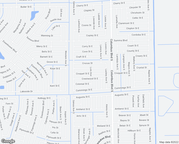 map of restaurants, bars, coffee shops, grocery stores, and more near 1127 Croquet Street East in Lehigh Acres