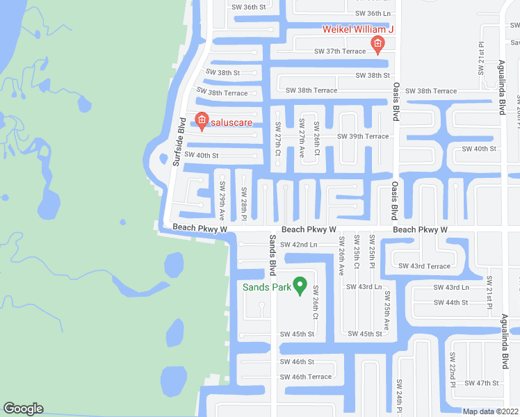 map of restaurants, bars, coffee shops, grocery stores, and more near 4122 Southwest 28th Avenue in Cape Coral