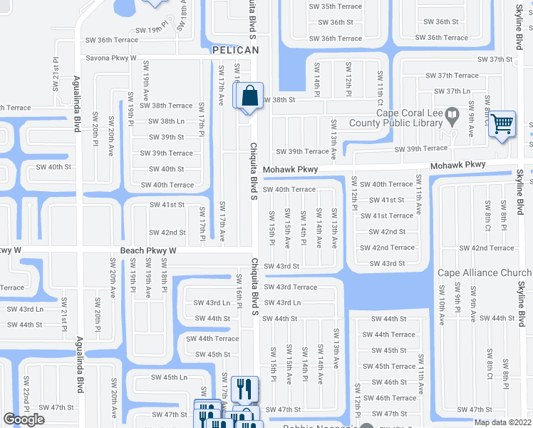 map of restaurants, bars, coffee shops, grocery stores, and more near 4114 Southwest 15th Place in Cape Coral