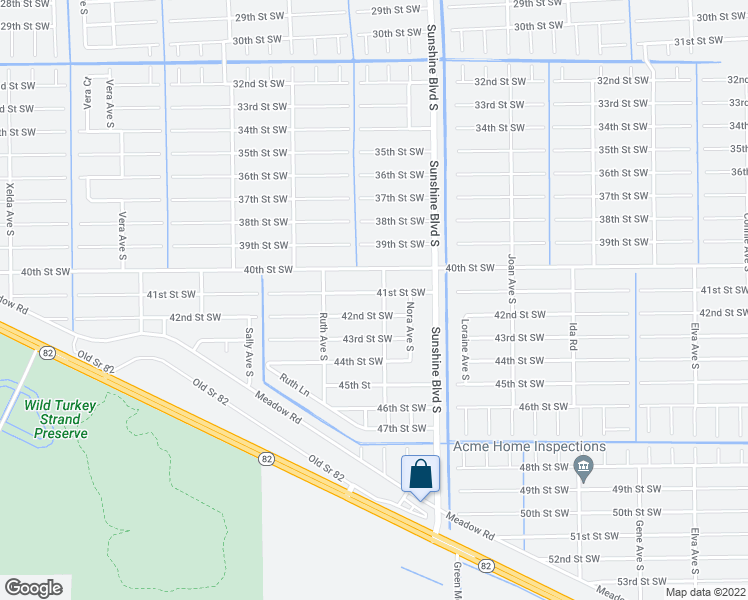 map of restaurants, bars, coffee shops, grocery stores, and more near 3203 41st Street Southwest in Lehigh Acres
