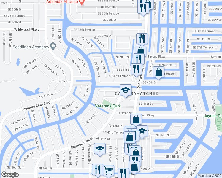 map of restaurants, bars, coffee shops, grocery stores, and more near 1313 Southeast 40th Terrace in Cape Coral