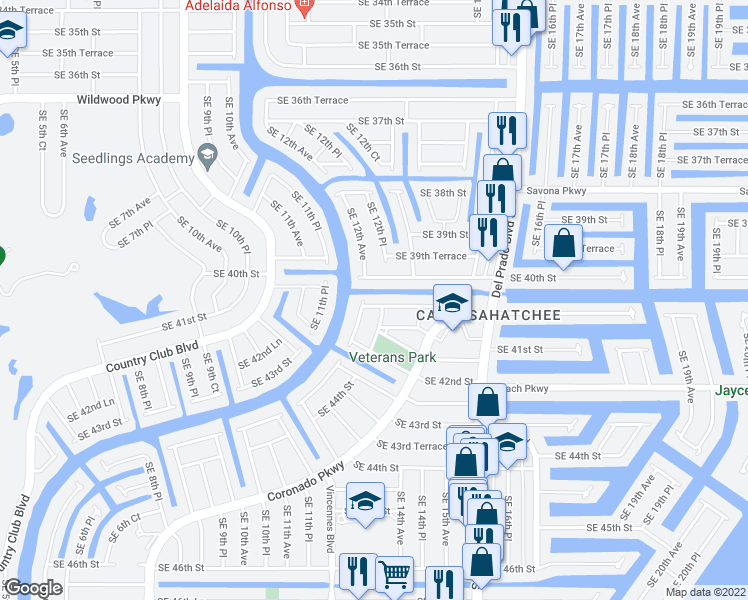 map of restaurants, bars, coffee shops, grocery stores, and more near 1207 Southeast 40th Terrace in Cape Coral