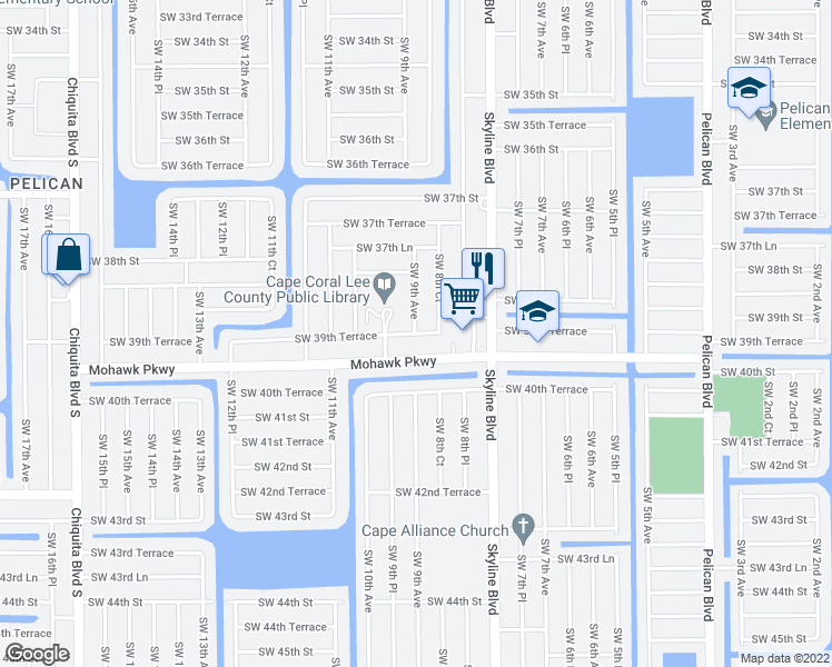 map of restaurants, bars, coffee shops, grocery stores, and more near 844 Southwest 39th Terrace in Cape Coral