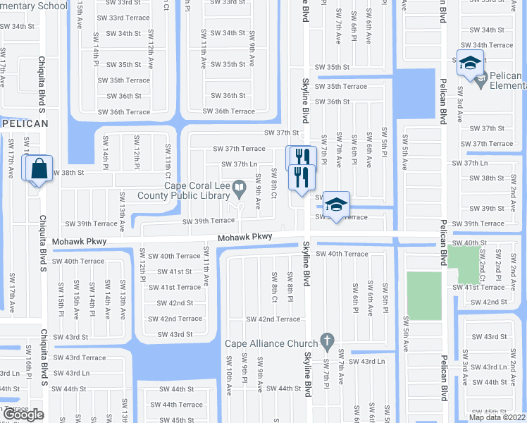 map of restaurants, bars, coffee shops, grocery stores, and more near 3915 Southwest 9th Avenue in Cape Coral