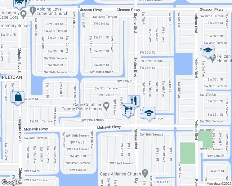 map of restaurants, bars, coffee shops, grocery stores, and more near 841 Southwest 37th Lane in Cape Coral
