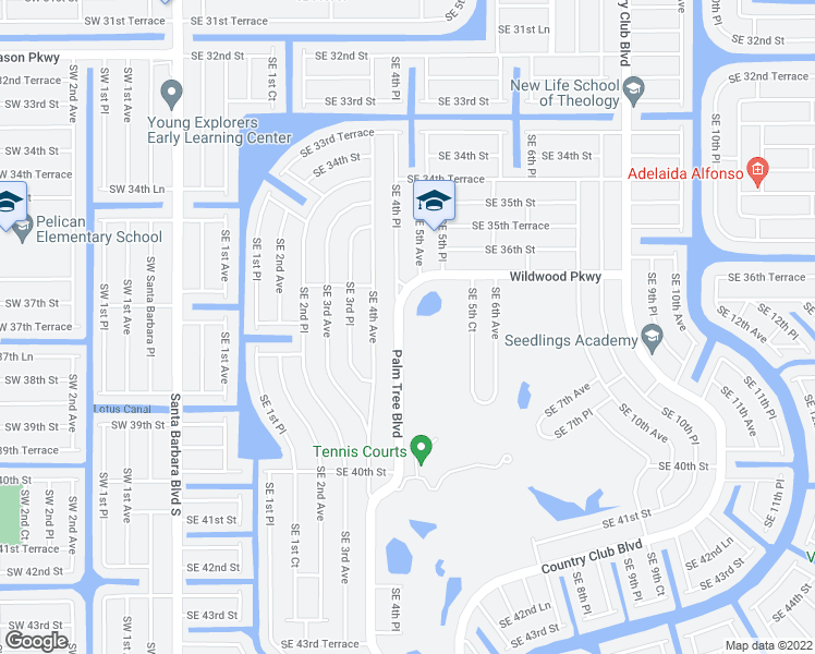 map of restaurants, bars, coffee shops, grocery stores, and more near 3727 Palm Tree Boulevard in Cape Coral