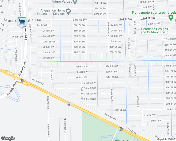 map of restaurants, bars, coffee shops, grocery stores, and more near 3912 33rd Street Southwest in Lehigh Acres