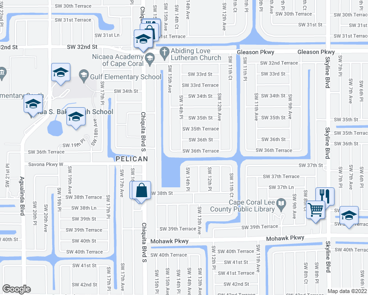 map of restaurants, bars, coffee shops, grocery stores, and more near 1323 Southwest 36th Terrace in Cape Coral