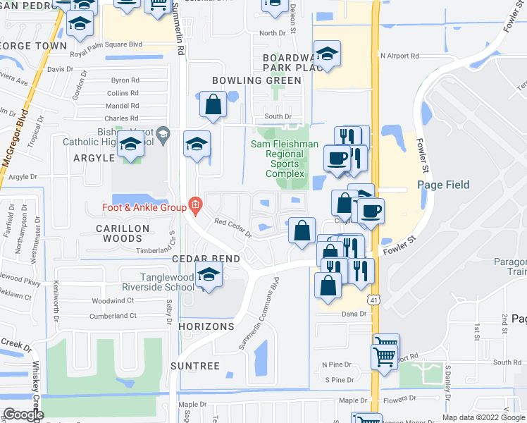 map of restaurants, bars, coffee shops, grocery stores, and more near 1601 Red Cedar Drive in Fort Myers